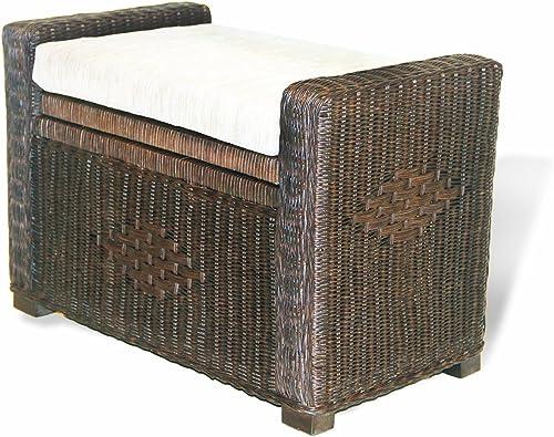 "Handmade Rectangular Chest Ottoman Bruno 26"" ECO Natural Rattan Wicker w/ Cushion"