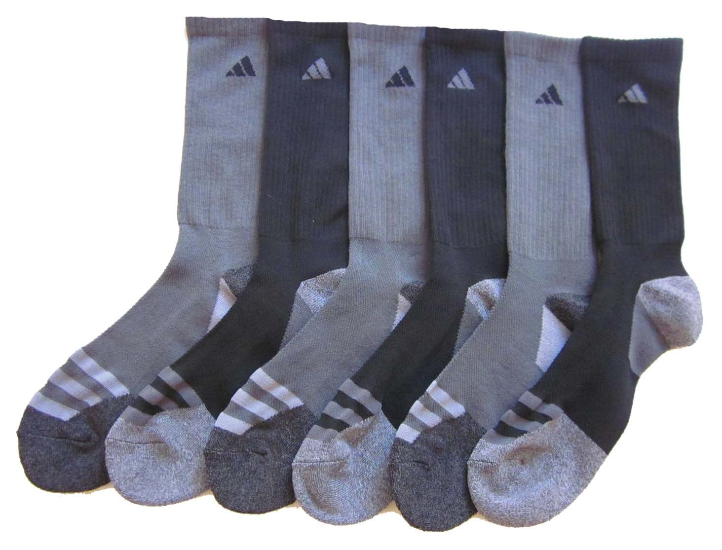 Mens Adidas Athletic Socks 6 Pack (Black/Carbon Grey) by adidas