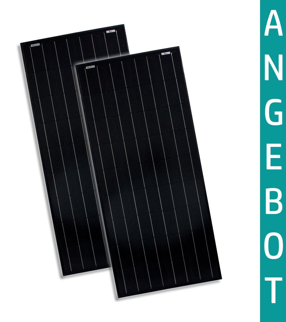 100W Watt x2 - Doppelpack Solarmodule Monokristallin Full Black 12V Volt TÜV zertifiziert - Solarpanel - Solar - Camping - solarXXL