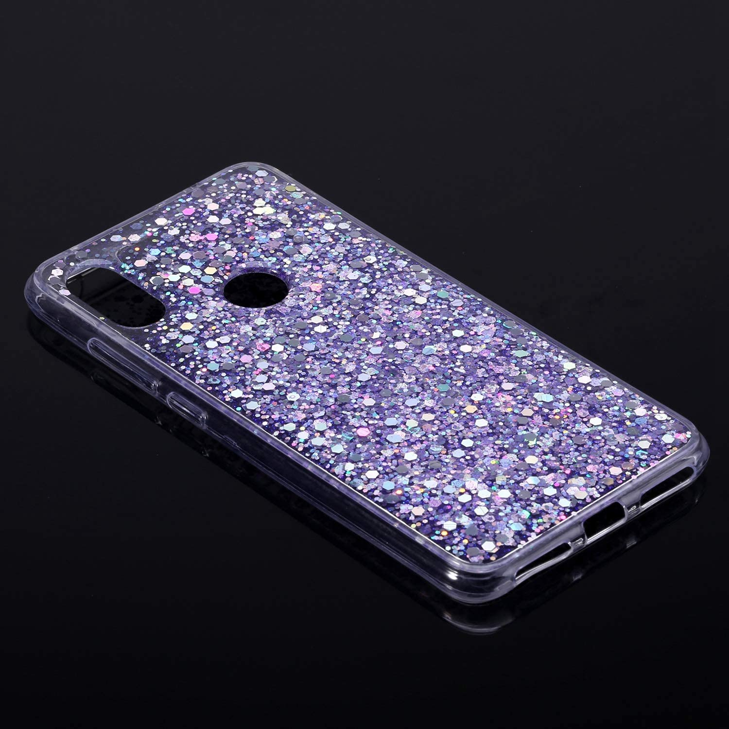 Herbests Compatible with Xiaomi Redmi Note 6 Pro Case Women Girl Glitter Bling Crystal Sparkle Shiny 3D Diamond Paillette Soft Silicone Gel Rubber Shockproof Protective Case Cover,Pink