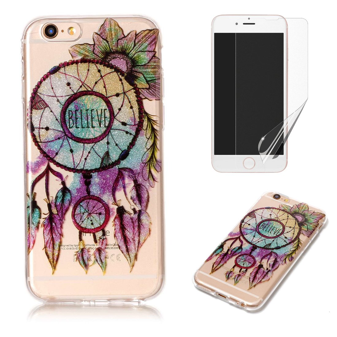 For iphone 6 Plus/6S Plus Case with Pattern Dreamcatcher, OYIME Glitter Bling Design Ultra Thin Slim Fit Protective Back Cover Soft Silicone Rubber Shell Drop Protection Anti-Scratch Transparent Bumper and Screen Protector