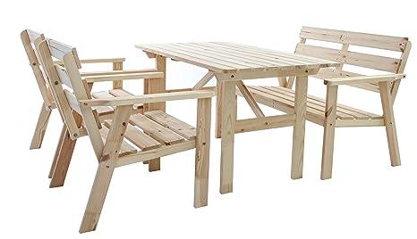 Ambientehome - Muebles de Jardín de Madera Maciza (4 Piezas ...