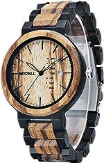 Men Colorful Wood Watches Multifunction Week & Date Quartz Mix Wooden