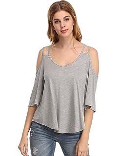 ROMWE Damen Cut-Outs Cold Shoulder Top V-Ausschnitt Locker Stretch Shirt  Oberteil c264f87b61