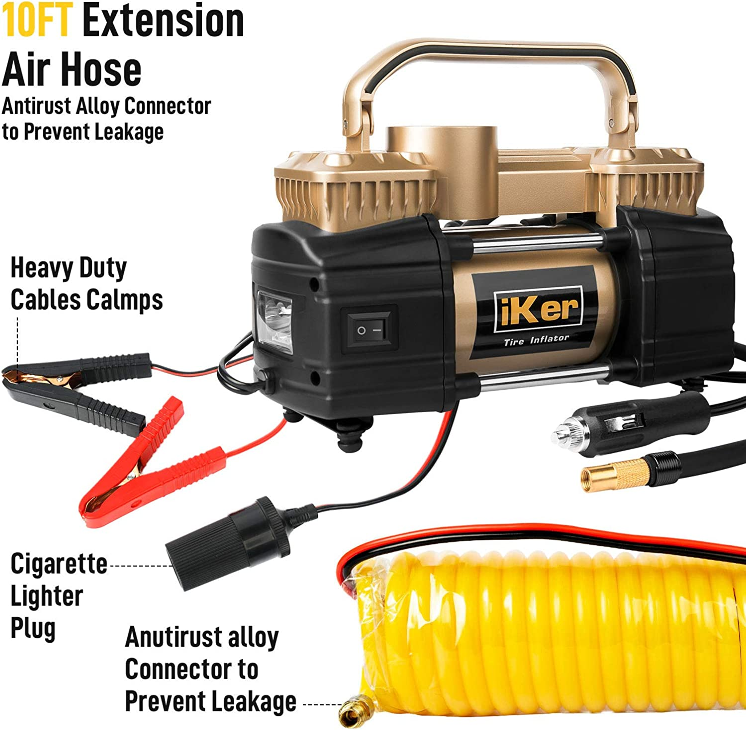 iKer Portable Air Compressor for Car Tires,12V Tire Inflator Heavy Duty Double Cylinders Metal Air Pump 150PSI with LED Work Lights,16.5ft Extension Air Hose and Tire Repair Kit