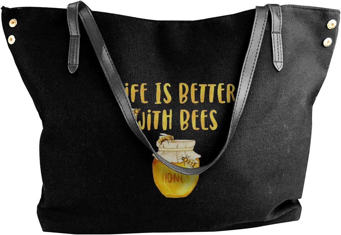 Lifes Better with Bees Canvas Shoulder Bag Handbags Tote Shopping Bag