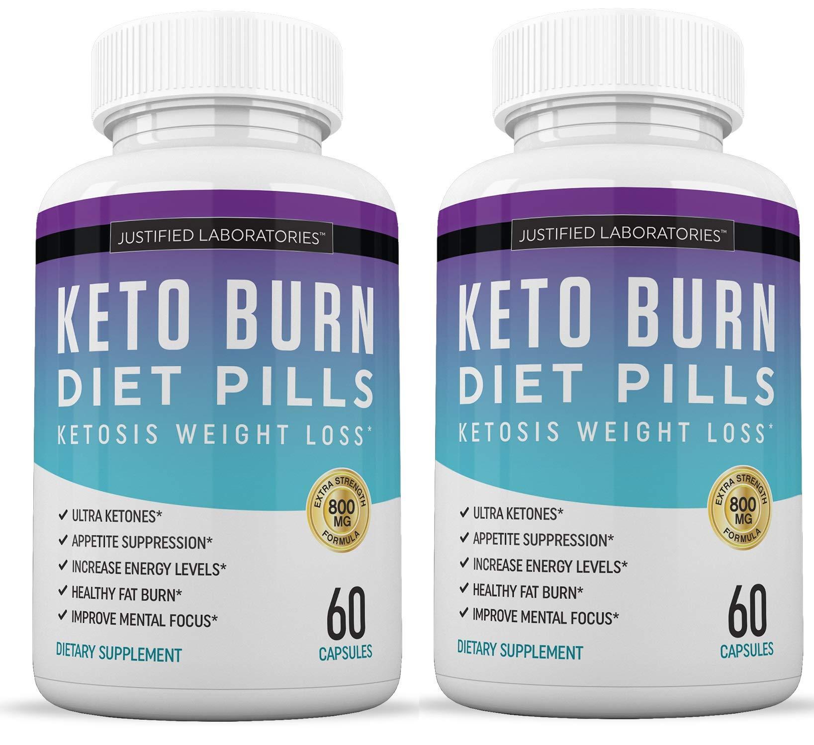 Keto Diet Pills Burn Shred BHB Salts Advanced Ketogenic Supplement Exogenous Ketones Ketosis Weight Loss Fat Burner Boost Energy Metabolism Men Women 60 Capsules 2 Bottles by Justified Laboratories