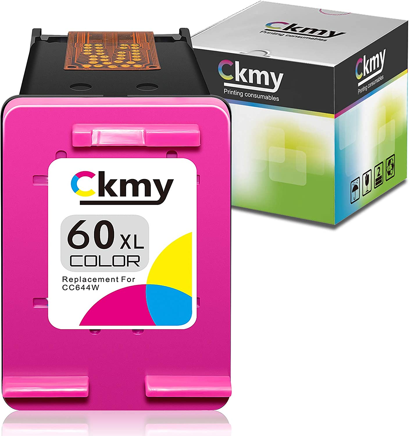 CKMY Remanufactured 60 Ink Cartridge Replacement for HP 60XL Color for HP PhotoSmart C4700 C4795 C4600 D110a Envy 120 100 114 110 DeskJet D1620 F4235 F4580 F4400 F2430 F4440 F2480 Printer (1 TriColor)