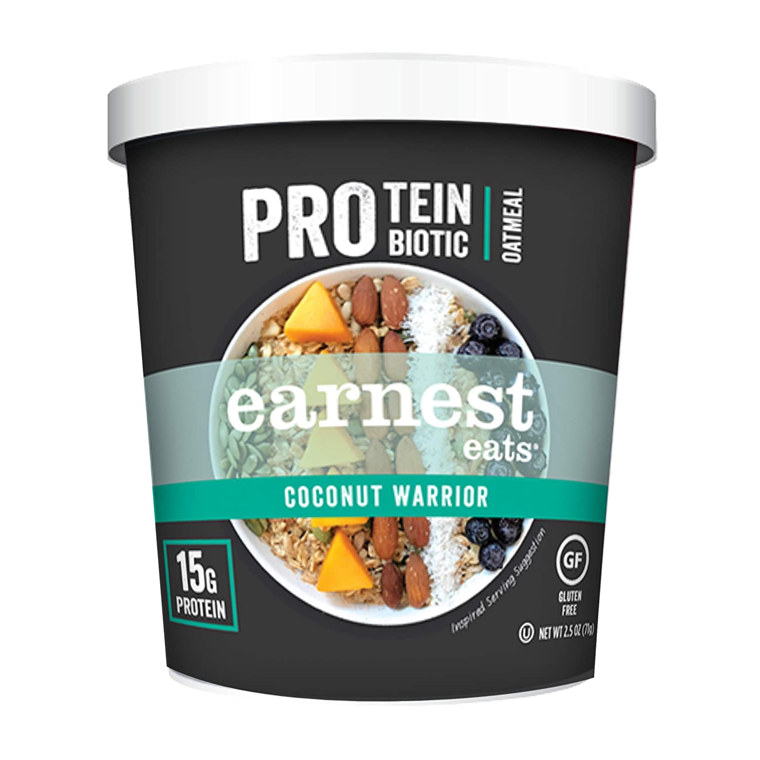 Earnest Eats PRO: Protein + Probiotic Superfood Oatmeal, Gluten Free, Coconut Warrior, 2.5oz Cup, 12-Pack, 15g Protein per Serving