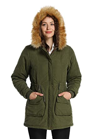 3c016d4708 4HOW Hooded Warm Parka Jacket Winter Coat Lined Faux Fur Parkas Jackets  Army Green Size 6