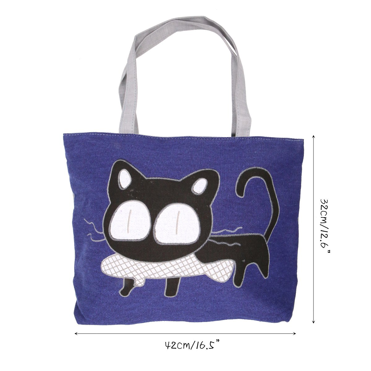01443ff046ae Cute Cat Handbag Large Canvas Tote Bag Reusable Grocery Beach Bag Shopping  Bag With Zipper For Women And Girls(Blue)