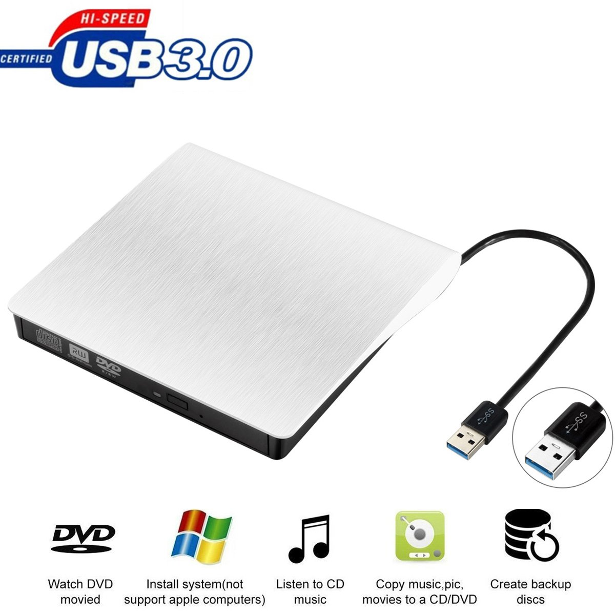 External DVD Drive for Laptop, Sibaok Portable USB 3.0 DVD-RW Player CD Drive, Optical Burner Writer Rewriter for Mac Computer Notebook Desktop PC Windows 7/8/10, Slim White