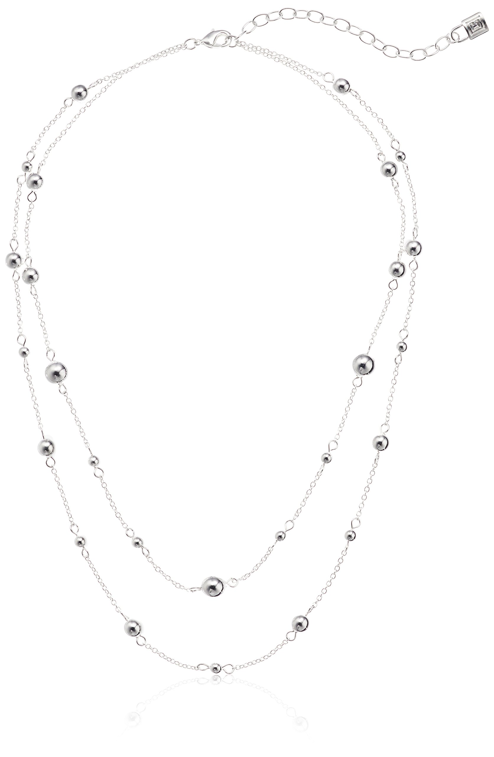 Chaps Women's Double Strand Bead Strand Necklace, Silver