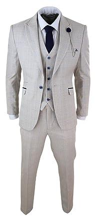 Costume crème Homme 3 pièces Tweed détails Noir Coupe ajustée Style  Classique Mariage Peaky Blinders