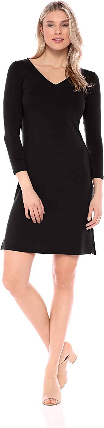 Daily Ritual Amazon Brand Women's Supersoft Terry Bracelet-Sleeve V-Neck Dress