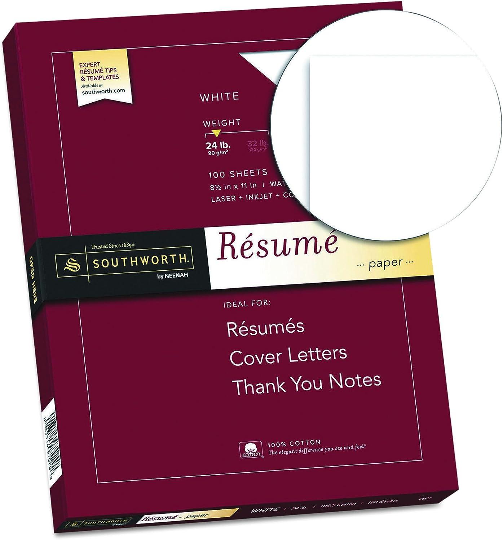 Southworth 100 Cotton Resume Paper 8 5 X 11 24 Lb White 100 Sheets