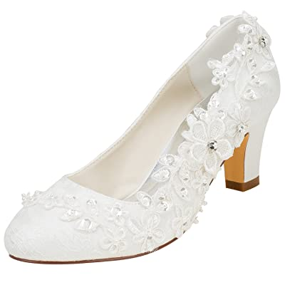 Emily Bridal 1505-1B Women's Wedding Shoes Closed Toe 2.56 Inches Chunky Heel Lace Satin Pumps with Rhinestone Lace Flower Bridal Shoes | Pumps