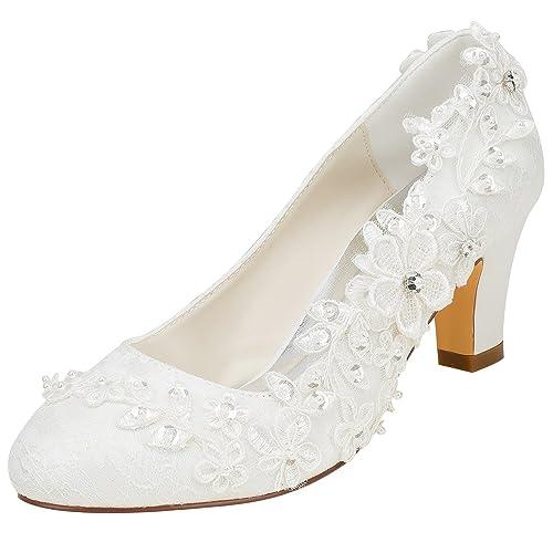 Scarpe Da Sposa Pizzo.Emily Bridal Scarpe Da Sposa Donna Raso Di Seta Come Tacco Spesso