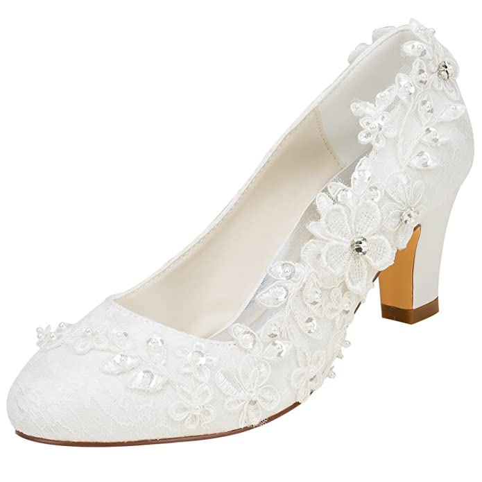 bb429295d6d04 Emily Bridal Wedding Shoes Women's Silk Like Satin Chunky Heel Pumps with  Stitching Lace Flower Crystal Pearl