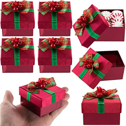 For Keeps 8 Pack Red Mini Gift Boxes With Lids Pre Wrapped Gift Boxes With Bows Christmas Party Favor Bulk Set