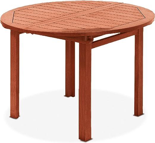 Table ronde extensible, en bois naturel 73 x 97 x 97 mod ...