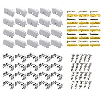 pour ASIN B06/X Nty2py B01/m9gs6bo Lot de 20/clips de fixation et embouts dextr/émit/é en m/étal avec vis pour Starlandled LED en forme de U Aluminium canal