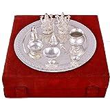 GS Museum Silver Plated Royal Pooja Thali Set With Ganesh Laksmi(28Cmx8Cmx28Cm)