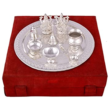 Buy GS Museum Silver Plated Royal Pooja Thali Set With Ganesh Laksmi(28Cmx8Cmx28Cm) Online at Low Prices in India - Amazon.in  sc 1 st  Amazon.in : silver plated pooja set - pezcame.com