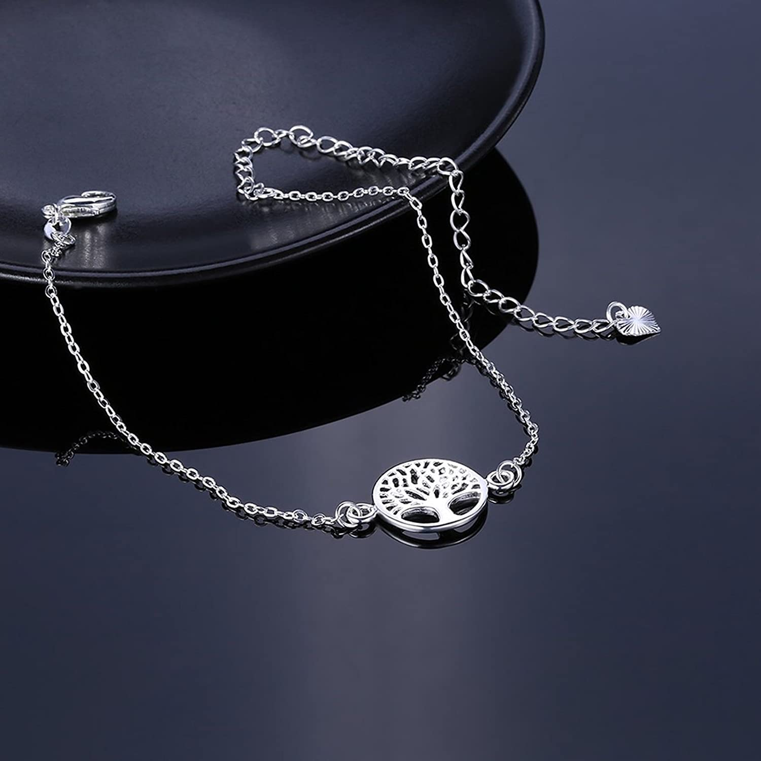 Aeici Jewellery Silver Plated Anklets for Women Tree Of Life Silver Beach Anklet 1.5 X 2.4 CM QITke