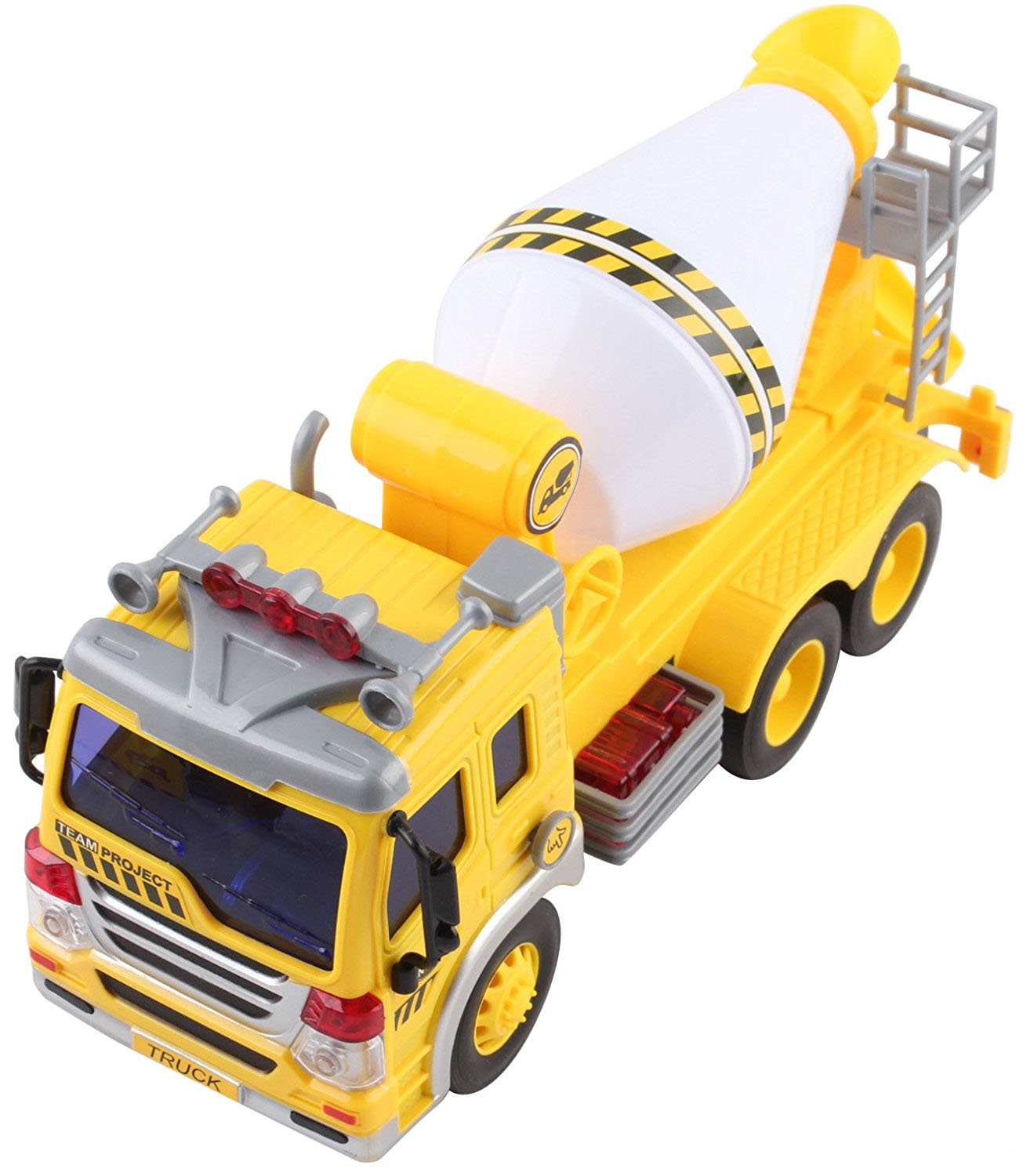 Enhances Children/'s Imagination Friction Power Mechanism Great Gift Colorful Outlook Playee Cement Mixer Toy Truck for Boys and Girls Bright Lights and Truck Sound Small But Handy
