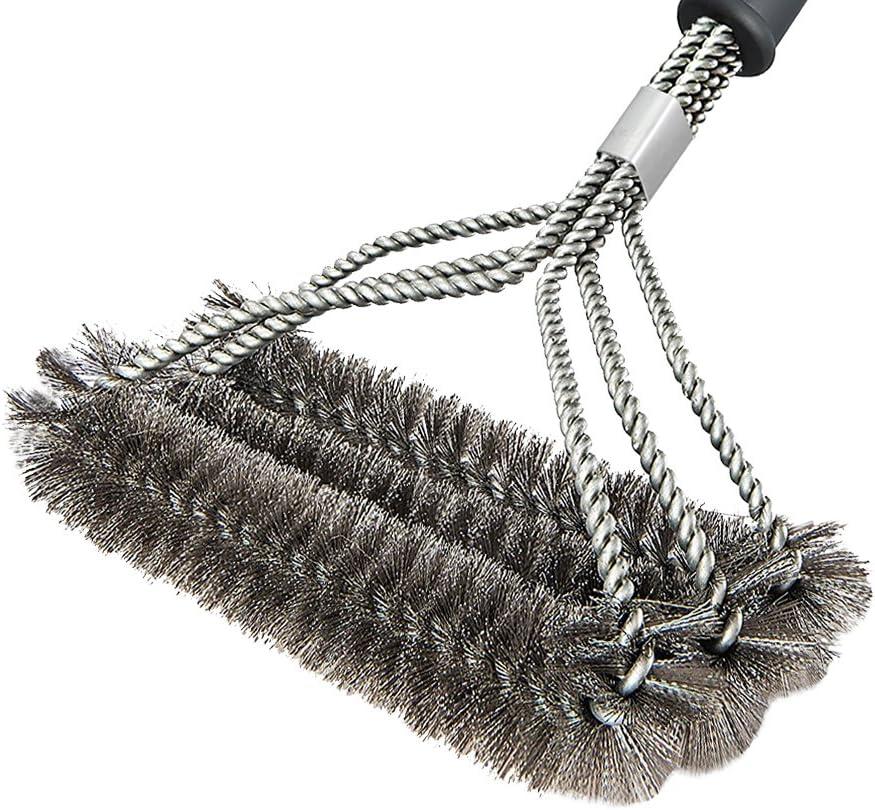 HUKOER Cepillos de limpieza de acero inoxidable -3 En 1 cepillo para cocina, barbacoa y parrilla 3-lado 17.7 inches de largo con anillo- Perfecto para ...