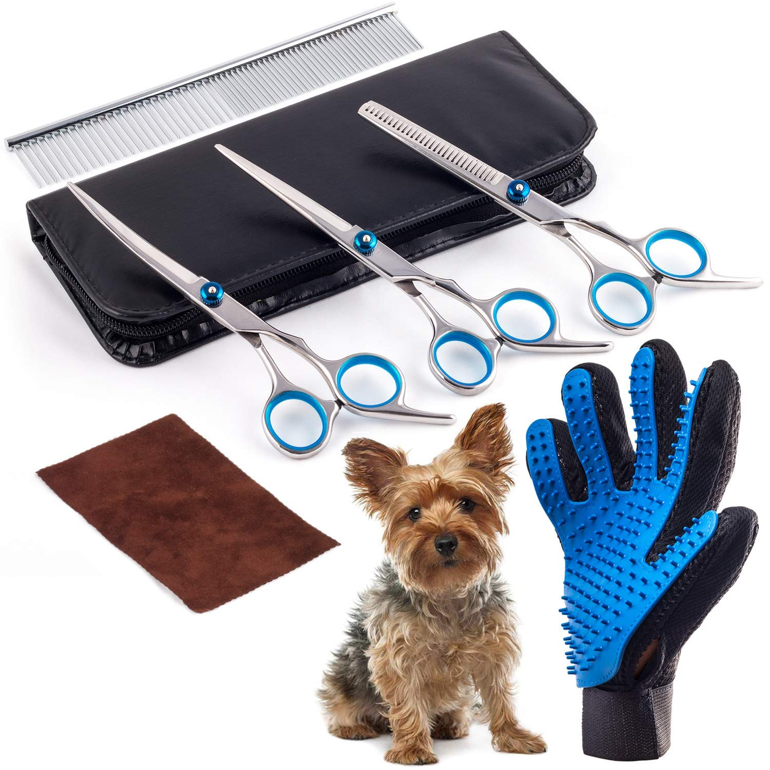Dog Grooming Scissors Kit - Pet Grooming Glove Included, Grooming Scissors for Dogs Face, Nose, Ears and Grooming Glove for Dogs, Cats and More Pets