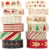 Christmas Washi Tape Set 12 Rolls Gold Masking Tape Pack Colorful Decorative Thin Tapes Christmas Holiday Designs Arts…
