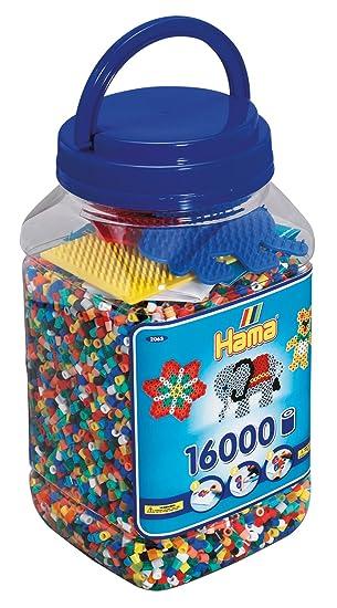 16000 Perlen Dose mit 3 Stiftplatten und ca Hama 2064