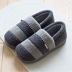 Juoceanimk Women Men Winter Home Fur Slippers Ladies Lovers Stripe Basic Shoes Flip Flops Female