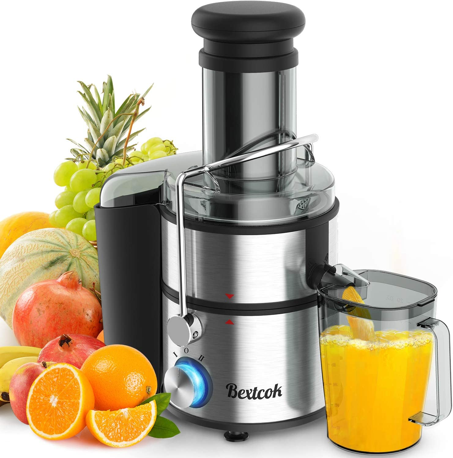 "Juice Extractor, Bextcok Centrifugal Juicer Machines Ultra Fast Extract Various Fruit and Vegetable Electric Juice Extractor with 3"" Large Feed Chute BPA Free Easy Clean for Orange Celery Carrot"