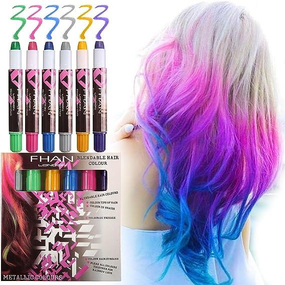Luckyfine Tiza temporal del pelo - Tizas de 6 colores - Ideal ...