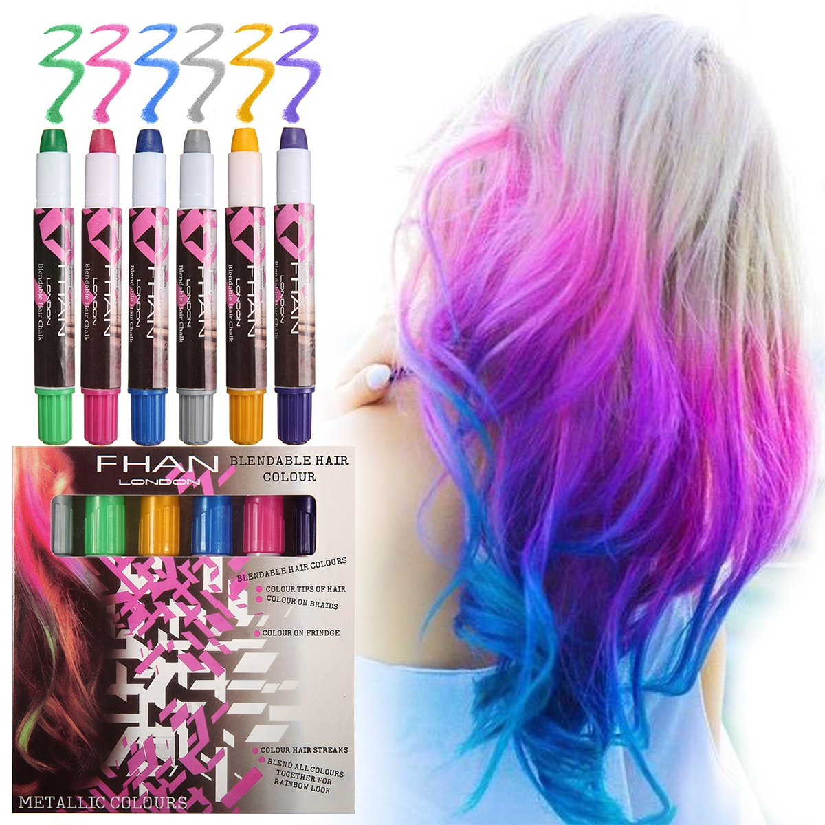 6 Colors Temporary Hair Chalk Pens, Y.F.M Temporary Hair Dye, Hair Chalk Set, Metallic Glitter Temporary Hair Color for Kids, Works on All Hair Colors