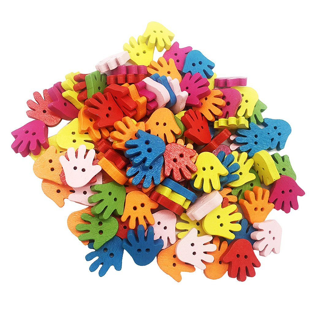 MagiDeal 100Pcs/lot Hand Palm Shape Wood Button 2 Hole Mixed Color Apparel Sewing DIY non-brand