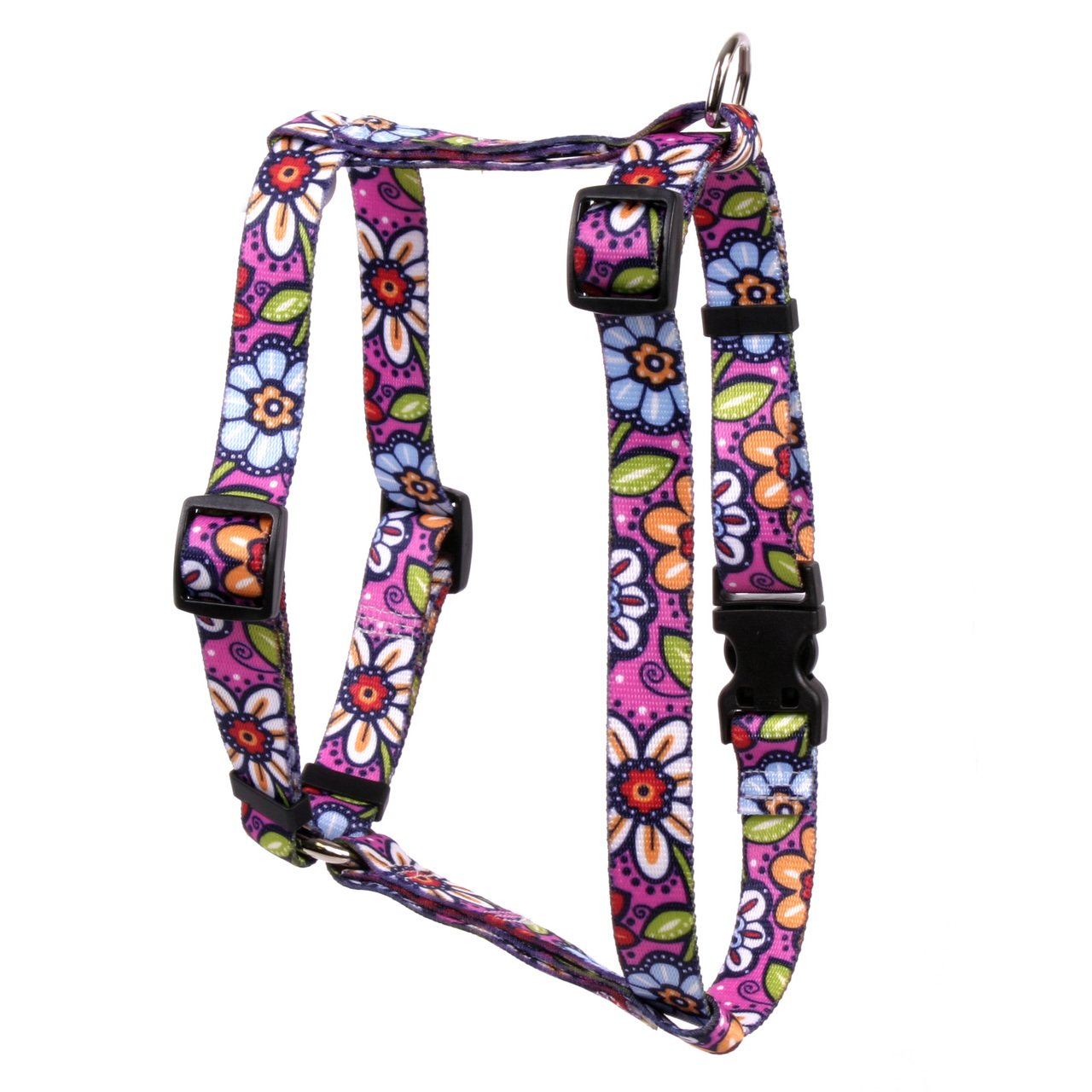 Yellow Dog Design Pink Garden Roman Style H Dog Harness, Large-1'' Wide and fits Chest of 20 to 28'' by Yellow Dog Design