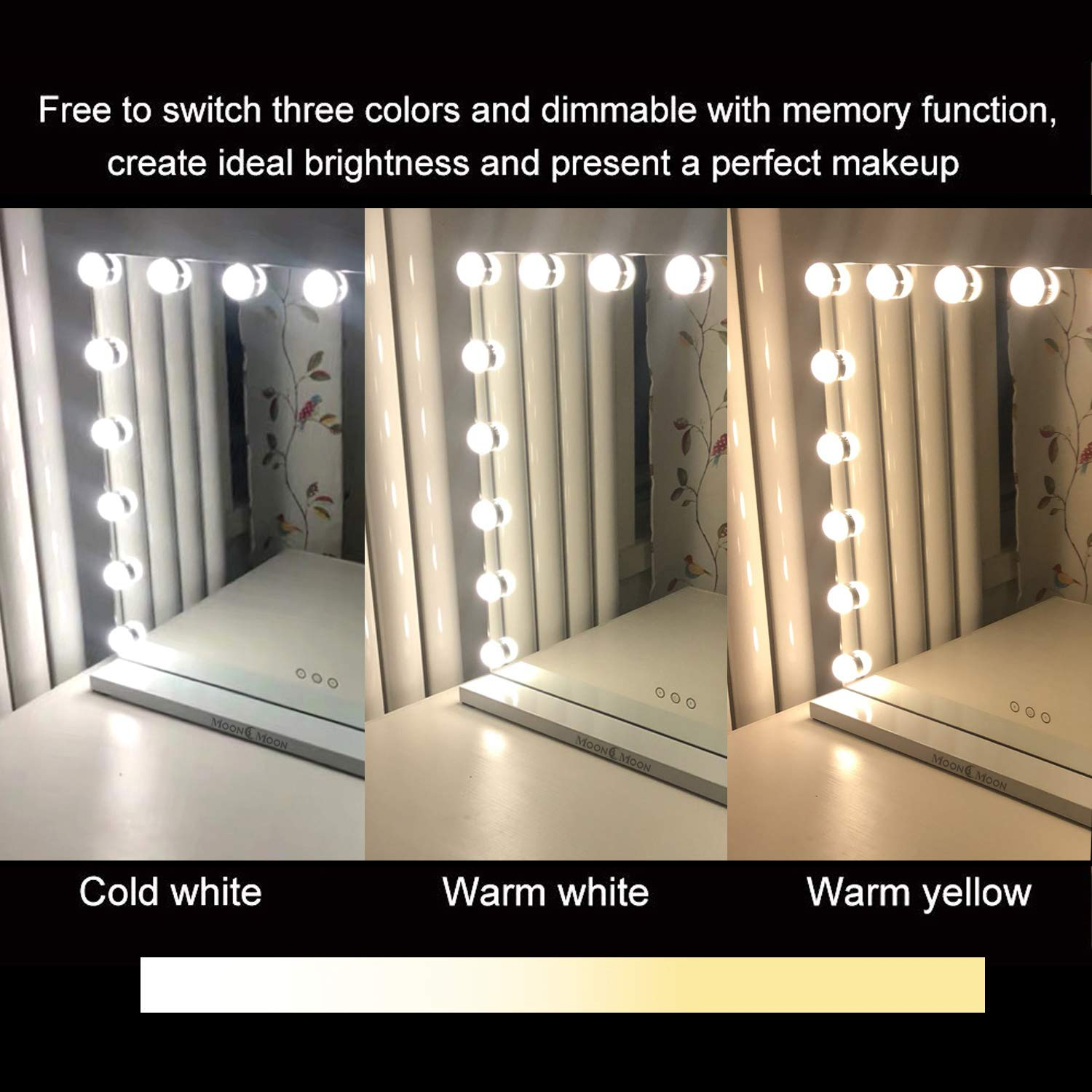 Moon Moon Hollywood Vanity Mirror with Lights,Professional Makeup Mirror & Lighted Vanity Makeup mirror with Smart Touch Adjustable LED Lights (White) by MoonMoon (Image #4)