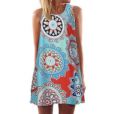 e8cb6c842e80 Women Summer Dresses Casual Printed Mini Beach Boho Sleeveless Short ...