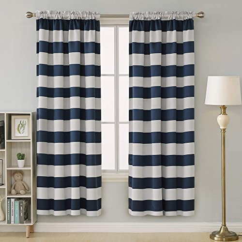 Deconovo Navy Blue Striped Room Darkening Curtains Rod Pocket Nautical Navy and Greyish White Striped Curtains for Kids Room 52W X 84L Navy Blue 2 Panels
