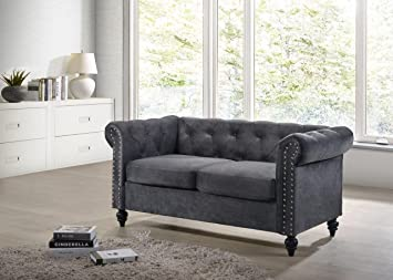 Amazon.com: Home Design Cassa Chesterfield Styled Love Seat ...