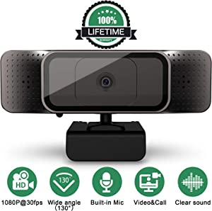 Webcam with Microphone, 1080P HD Webcam Streaming Computer Camera, USB Webcam Built in Dual Noise Reduction Microphone with Wide View Angel for PC Desktop Laptop Video Calling, Conferencing