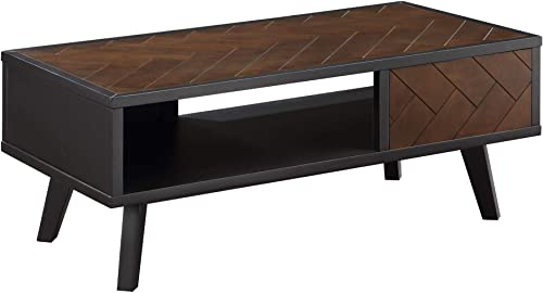 LALUZ Black Square Mid Century Modern Wood Coffee Table