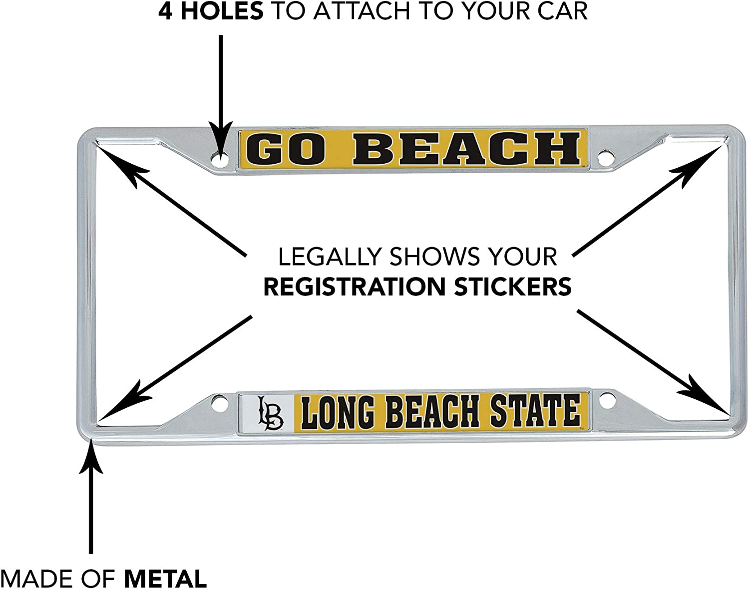 Desert Cactus California Cal State University Long Beach CSULB 49ers Dirtbags NCAA Metal License Plate Frame for Front Back of Car Officially Licensed Mascot
