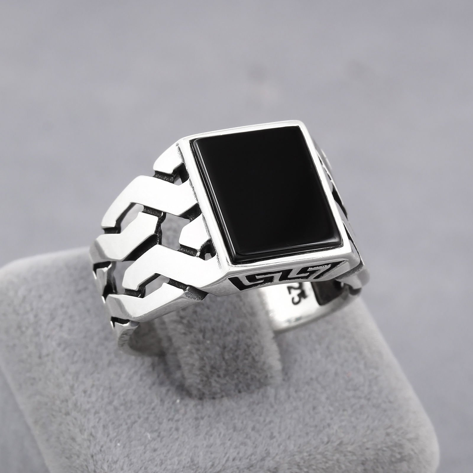 Chimoda Turkish Handmade Jewelry Black Onyx Stone 925 Sterling Silver Men's Ring (9) by Chimoda (Image #3)
