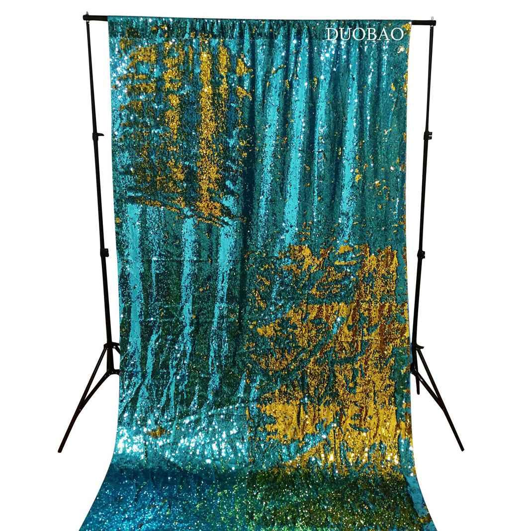 DUOBAO Sequin Backdrop 20FTx10FT Turquoise to Gold Glitter Backdrop Curtain Mermaid Reversible Sequin Curtains Beautiful Background by DUOBAO (Image #2)
