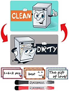 Dishwasher Magnet Clean Dirty Sign - Dishwasher Sign Waterproof And Double Sided Flip With Bonus Metal Plate Include 6pcs Magnetic Labels And 2 Color Dry Erase Markers Perfect For Kitchen Dishwasher
